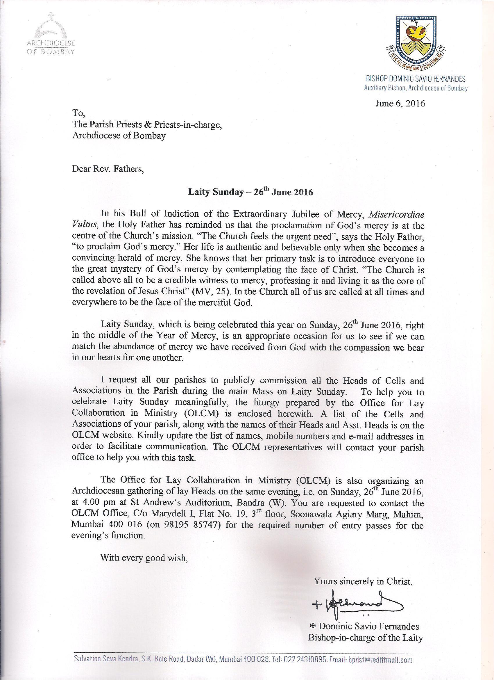Bishops Laity Sunday Letter